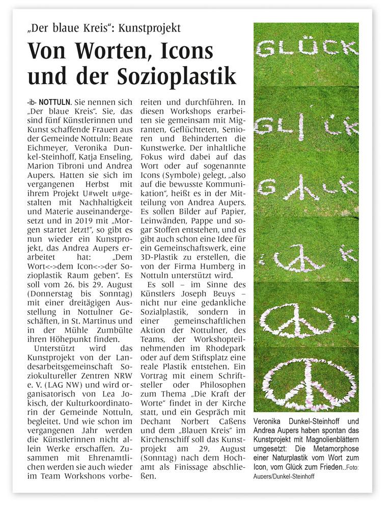 """Artikel Kunstprojekt der Künstlergruppe """"Der blaue Kreis"""""""