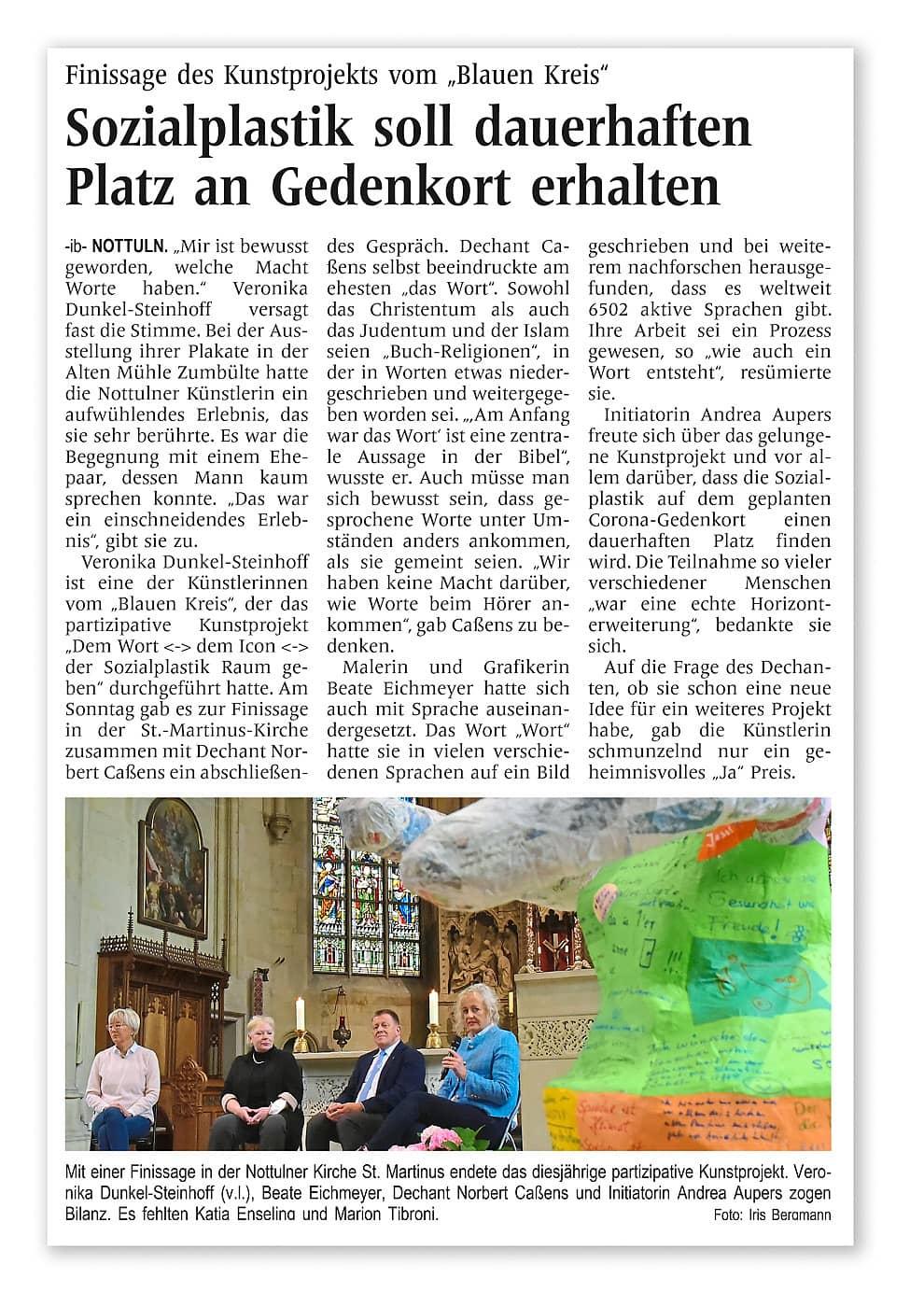 """Finissage des Kunstprojekts vom """"Blauen Kreis"""""""